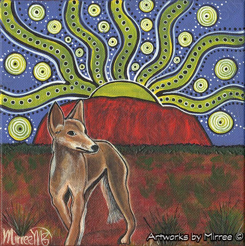 'Australian Desert Dingo by Uluru ~ Hidden Dreams' Original Painting by Mirree Contemporary Dreamtime Animal Dreaming