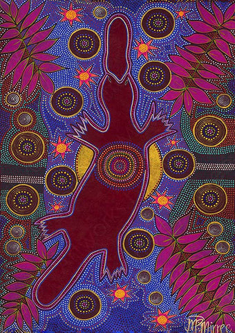 Platypus Dreaming Aboriginal Art Animal Dreaming A6 Gift Card Single by Mirree