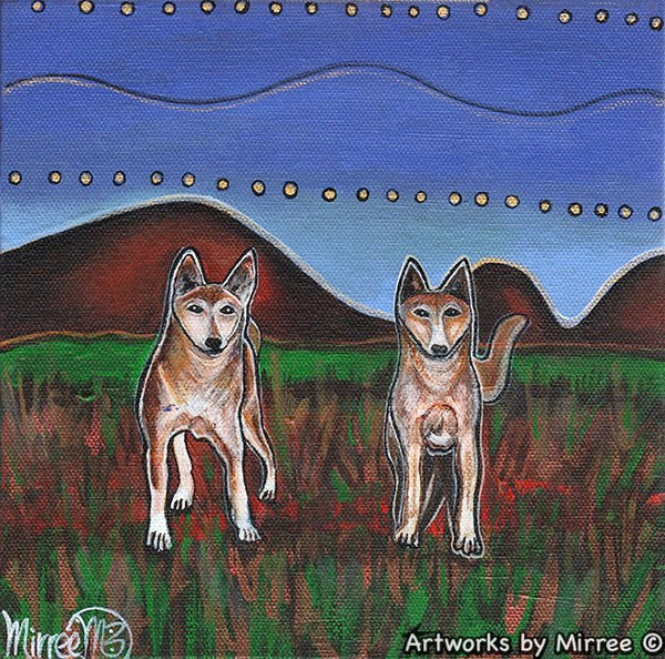 'Australian Pack Dingo Part 2 ~ Dreaming Track to the Stars' Original Painting by Mirree Contemporary Dreamtime Animal Dreaming