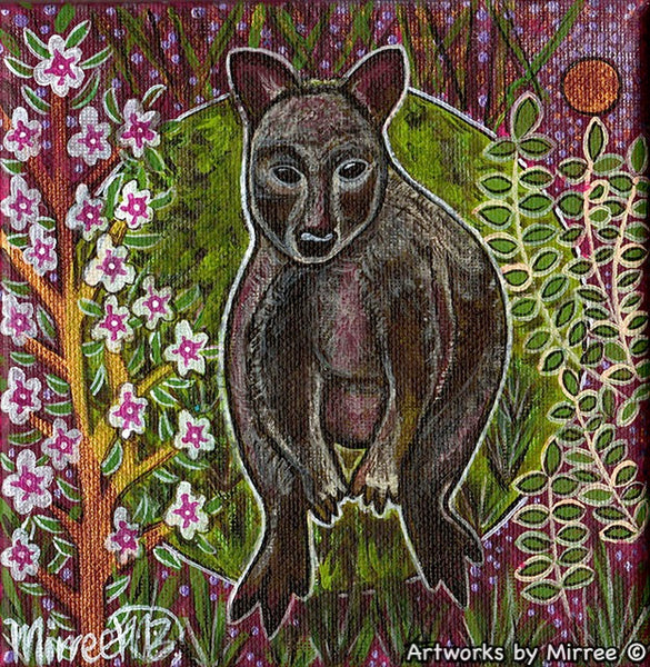 PADEMELON WITH FLOWER MEDICINE Framed Canvas Print by Mirree Contemporary Aboriginal Art