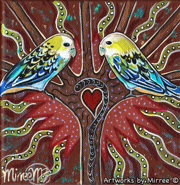 'Australian Pale-Faced Rosella' Original Painting by Mirree Contemporary Dreamtime Animal Dreaming