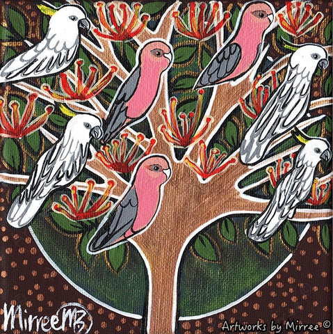 'Australian Native Parrots in Tree' Life Changing Original Painting Series by Mirree Contemporary Dreamtime Animal Dreaming