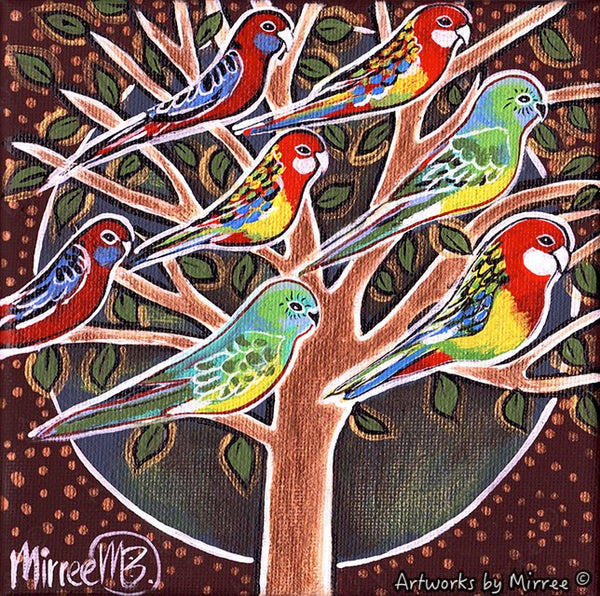 'Australian Native Birds in Tree' Life Changing Original Painting Series by Mirree Contemporary Dreamtime Animal Dreaming