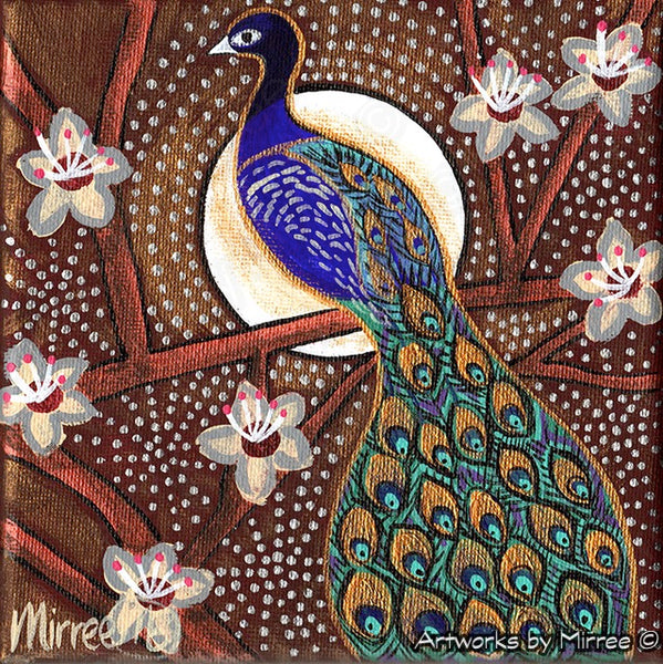 'Peacock Spiritual Contentment' Original Painting by Mirree Contemporary Dreamtime Animal Dreaming