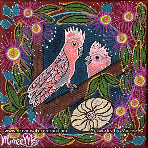 Pink Galah and Baby Dreaming with Coolamon Small Contemporary Aboriginal Art Original Painting by Mirree