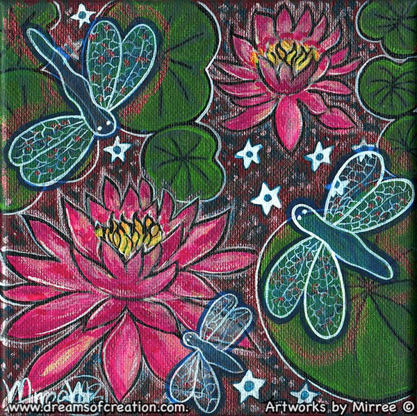 'Double Pink Lotus with Lilly Pads & Dragonflies' Original Painting by Mirree Contemporary Dreamtime Animal Dreaming