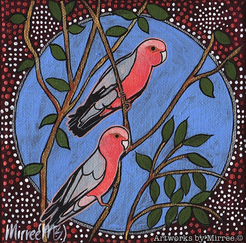 'Australian Pink Galah' Original Painting by Mirree Contemporary Dreamtime Animal Dreaming