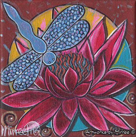 'Pink Lotus with Dragonfly Setting Sun' Original Painting by Mirree Contemporary Dreamtime Animal Dreaming