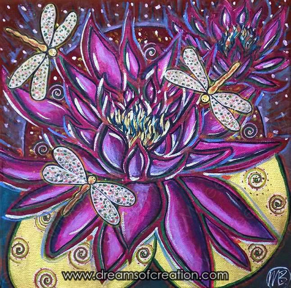 Pink Lotus with Dragonfly Contemporary Aboriginal Art Original Painting by Mirree