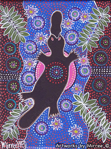 'Platypus Dreaming' with Pink Moon & Lotus Original Painting by Mirree Contemporary Dreamtime Animal Dreaming