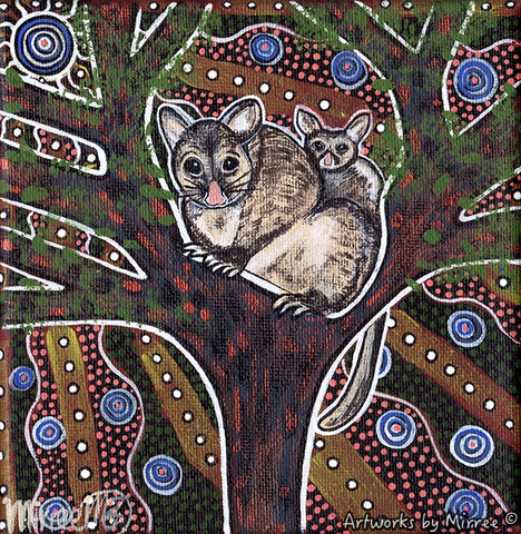 'Possum & Baby' Original Painting by Mirree Contemporary Dreamtime Animal Dreaming