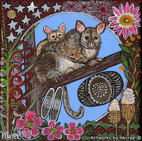 POSSUM & BABY WITH FLOWER MEDICINE Framed Canvas Print by Mirree Contemporary Aboriginal Art