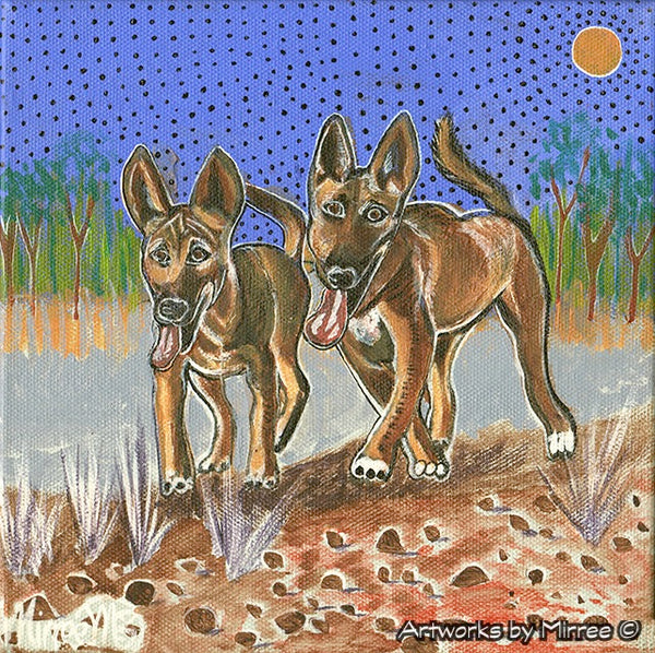 'Australian Pups Dingoes by Rocky Plain ~ Happy and Free' Original Painting by Mirree Contemporary Dreamtime Animal Dreaming