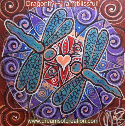 'Purple Blissful Dragonfly' Original Painting by Mirree Contemporary Dreamtime Animal Dreaming