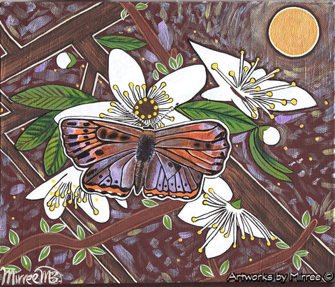 'Purple Copperwing Butterfly with Blackthorn Blossoming Flower' Medium Original Painting by Mirree Contemporary Dreamtime Animal Dreaming
