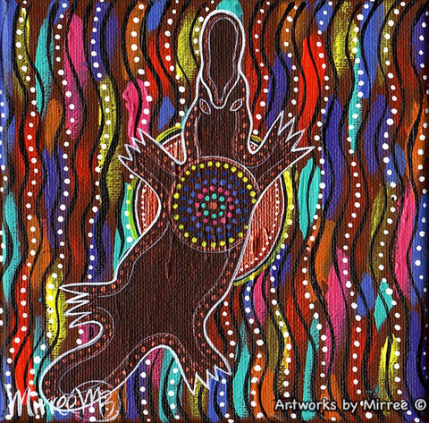 'Platypus Rainbow & Sun Dreaming' Original Painting by Mirree Contemporary Dreamtime Animal Dreaming