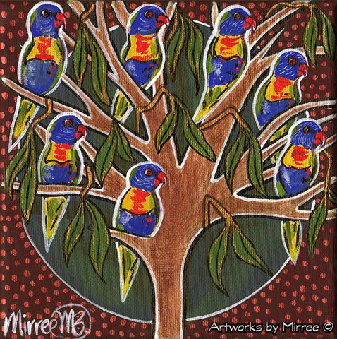 'Australian Rainbow Lorikeets in Tree' Life Changing Original Painting Series by Mirree Contemporary Dreamtime Animal Dreaming
