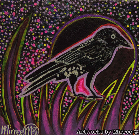'Australian Raven Bird' Original Painting by Mirree Contemporary Dreamtime Animal Dreaming