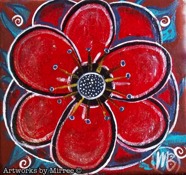 'Red Poppy' Original Painting by Mirree Contemporary Art