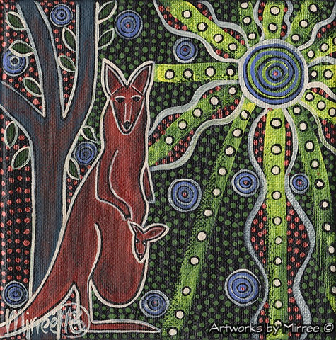 'Kangaroo & Baby with Leaves' Original Painting by Mirree Contemporary Dreamtime Animal Dreaming
