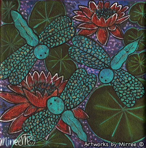 'Ruby Red Lotus Light with Lily Pad Dreaming' Original Painting by Mirree Contemporary Dreamtime Animal Dreaming