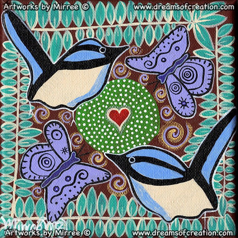 'Sacred Water Site with Blue Wren & Butterfly' Original Painting by Mirree Contemporary Dreamtime Animal Dreaming