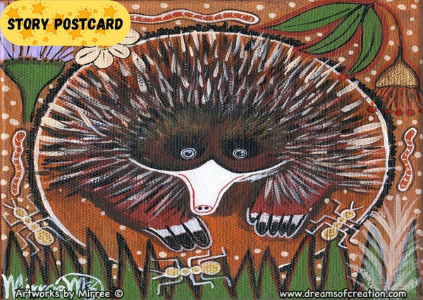 'Short-Nosed Echidna Aboriginal Art A6 Story PostCard Single by Mirree