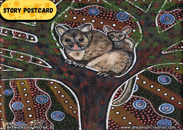 Possum and Baby Aboriginal Art A6 Story PostCard Single by Mirree
