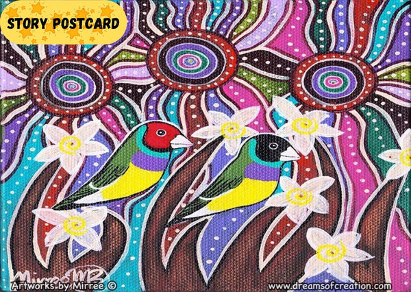Australian Gouldian Rainbow Finch Universal Spirit Dreaming Aboriginal Art A6 Story PostCard Single by Mirree