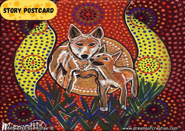 'Australian Dingo and Baby Baiames Helper' Aboriginal Art A6 Story PostCard Single by Mirree