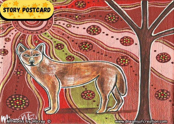 'Day Time Dingo' Aboriginal Art A6 Story PostCard Single by Mirree