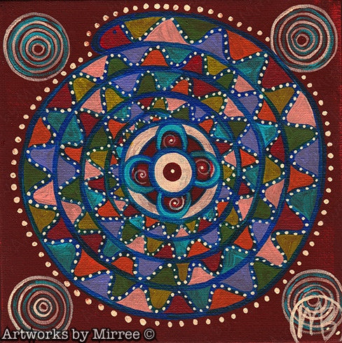 'Sacred Healing Place with Rainbow Serpent' Original Painting by Mirree Contemporary Dreamtime Animal Dreaming