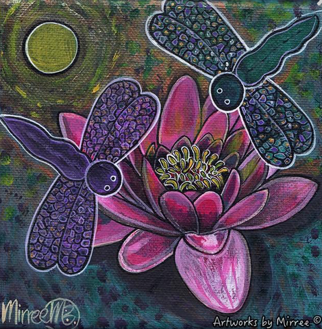 PINK LOTUS WITH DRAGONFLY & SETTING SUN Framed Canvas Print by Mirree Contemporary Aboriginal Art