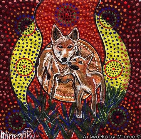 DINGO & BABY Framed Canvas Print by Mirree Contemporary Aboriginal Art