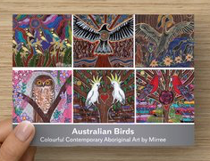 Australian Bird Dreaming Contemporary Aboriginal Art A6 PostCard Single by Mirree