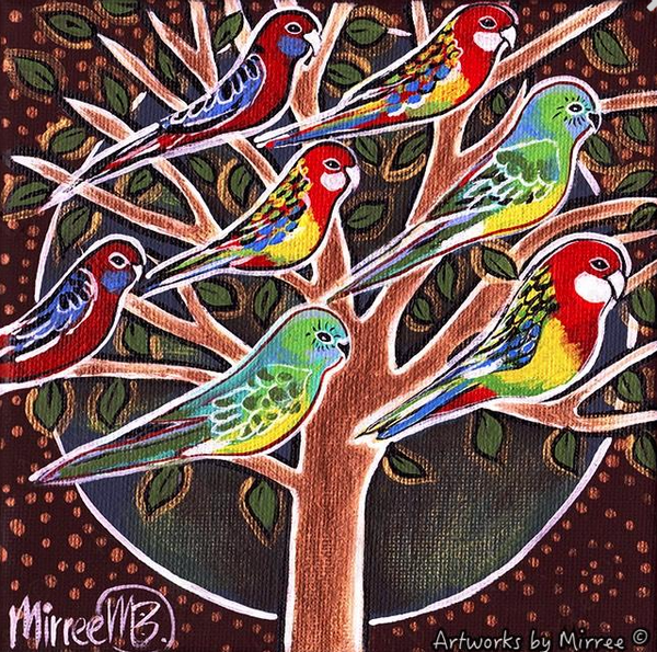 AUSTRALIAN NATIVE BIRDS IN TREE Framed Canvas Print by Mirree Contemporary Aboriginal Art