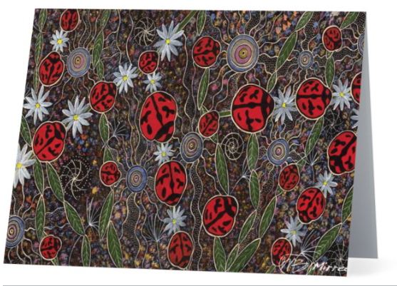 Original Luxury Ancestral Lady Beetle Aboriginal Art Animal Dreaming Greeting Card Single by Mirree