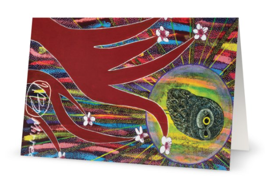 Pack of 10 Day Owl Aboriginal Art Animal Dreaming A6 Gift Cards by Mirree