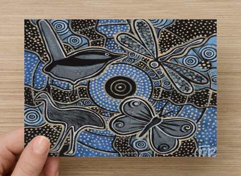 Ancestral Sky Universal Spirit Dreaming Aboriginal Art A6 PostCard Single by Mirree