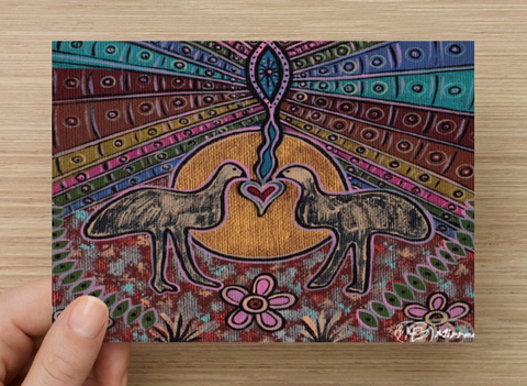 Emu Medicine Universal Spirit Dreaming Aboriginal Art A6 PostCard Single by Mirree
