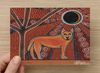 Walkabout Dingo Universal Spirit Dreaming Aboriginal Art A6 PostCard Single by Mirree