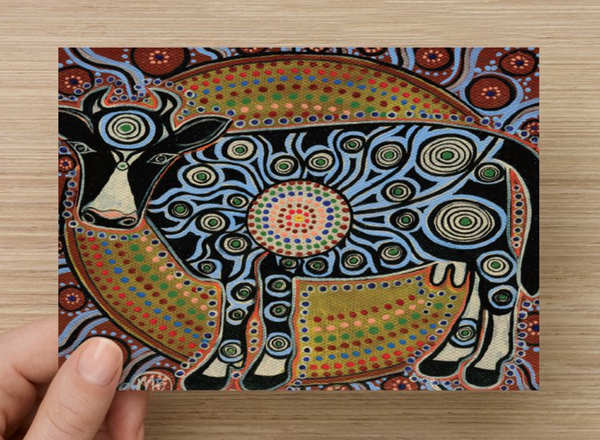 Sacred Cow Universal Spirit Dreaming Aboriginal Art A6 PostCard Single by Mirree