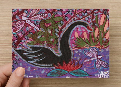 Black Swan Wisdom Universal Spirit Dreaming Aboriginal Art A6 PostCard Single by Mirree