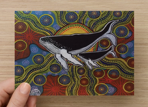 Whale & Baby Universal Spirit Dreaming Aboriginal Art A6 PostCard Single by Mirree