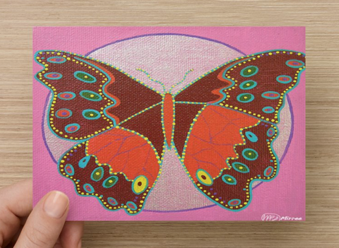 Emotional Release Butterfly Universal Spirit Dreaming Aboriginal Art A6 PostCard Single by Mirree