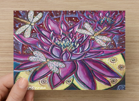 Pink Lotus with Dragonfly Universal Spirit Dreaming Aboriginal Art A6 PostCard Single by Mirree