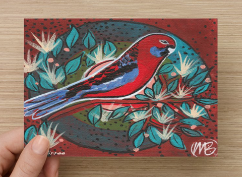 Crimson Rosella Universal Spirit Dreaming Aboriginal Art A6 PostCard Single by Mirree