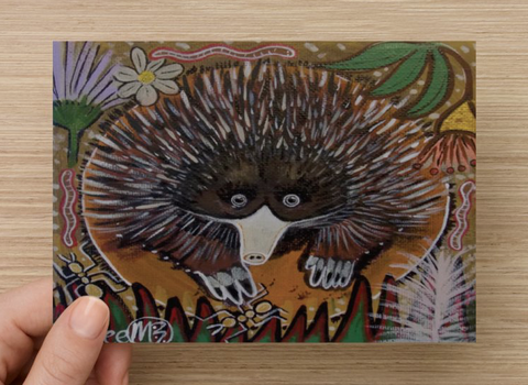 Short-Nosed Echidna Universal Spirit Dreaming Aboriginal Art A6 PostCard Single by Mirree