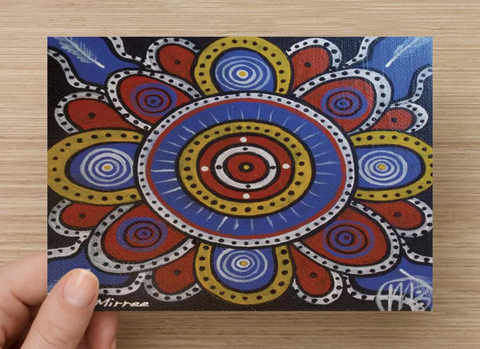 Ceremonial Ground Universal Spirit Dreaming Aboriginal Art A6 PostCard Single by Mirree