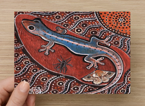 Gecko Universal Spirit Dreaming Aboriginal Art A6 PostCard Single by Mirree
